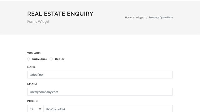 Real Estate Enquiry Form